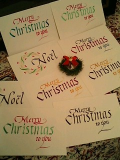 SWIMMERグッズのお買い物とクリスマスカードのカリグラフィー
